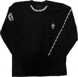 Collar Print Black Long Sleeve T-Shirt by Chrome Hearts at Crown Forever