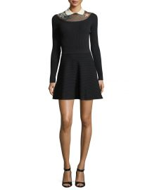 Collared Fit-&-Flare Dress w/ Point d\'esprit Yoke & Hand-Stitched Flowers at Bergdorf Goodman