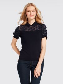 Collared Fleurette Sweater at Draper James