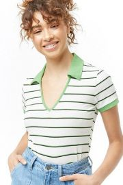 Collared Ribbed Striped Top at Forever 21