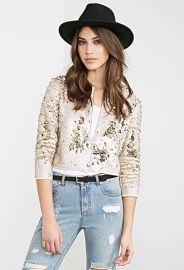 Collarless Sequined Jacket  Forever 21 - 2000100942 at Forever 21