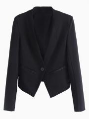 Collarless black blazer at Choies