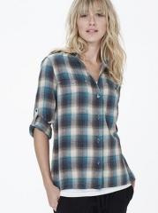 Collarless plaid shirt at James Perse