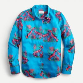 Collection Silk Twill Shirt in Lobster Print by J. Crew at J. Crew