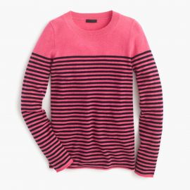 Collection cashmere long-sleeve T-shirt in stripe in fuschia navy at J. Crew