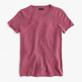 Collection cashmere short-sleeve T-shirt in Berry at J. Crew