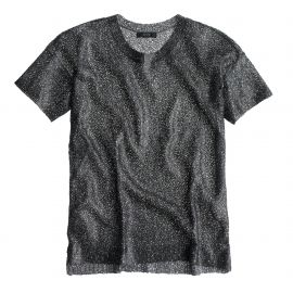 Collection short-sleeve foil sequin sweater in Pewter Black at J. Crew