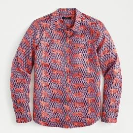 Collection silk-twill button-up shirt in roaming tigers at J. Crew