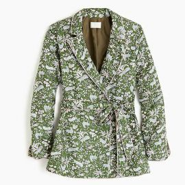 Collection silk-twill wrap blazer in jungle cat print at J. Crew