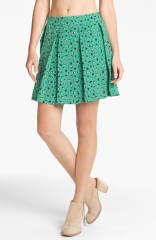 Collective Concepts Bird Print Pleated Skirt at Nordstrom