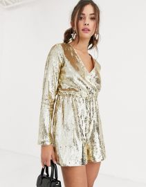 Collective The Label wrap sequin romper in gold at Asos