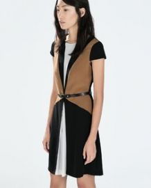 Color Block Dress with Belt at Zara