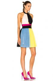 Color Block Halter Top Tulle Dress by Fausto Puglisi at Forward