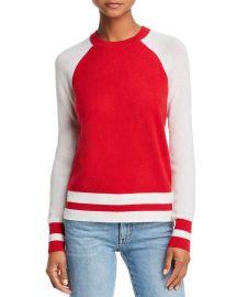 Color-Block Raglan Cashmere Sweater AQUA Cashmere at Bloomingdales