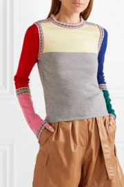 Color-block wool sweater by Rosie Assoulin at Net A Porter
