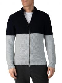 Colorblock Cotton-Blend Zip Up Sweater at Saks Fifth Avenue
