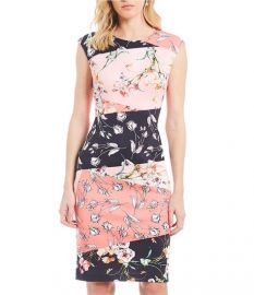 Colorblock Floral Print Sheath Dress by Vince Camuto at Dillards