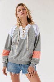 Colorblock Lace-Up Crew Neck Sweatshirt by Out From Under at Urban Outfitters