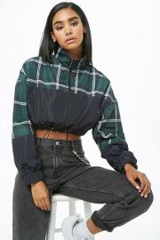 Colorblock Plaid Cropped Windbreaker at Forever 21