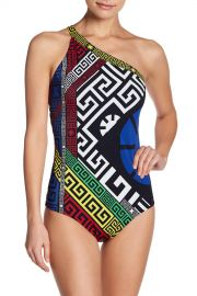 Colorblock Print One Shoulder One-piece Swimsuit by Versace at Nordstrom Rack