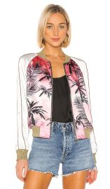 Colorblock Satin Jacket in Pink Sunset at Revolve