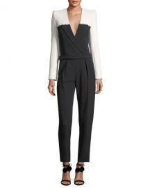 Colorblock Staple-Trim Tuxedo Jumpsuit by Mugler at Bergdorf Goodman