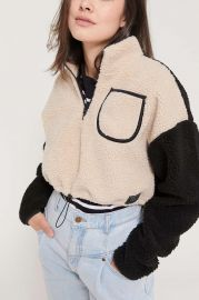 Colorblock Teddy Pullover Top at Urban Outfitters