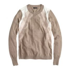 Colorblock lace panel sweater at J. Crew