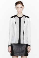 Colorblocked feathery shirt by Helmut Lang at SSENSE