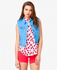 Colored denim vest at Forever 21