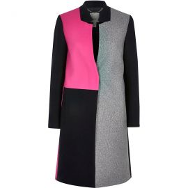 Colour Blocked Longline Coat by River Island at River Island