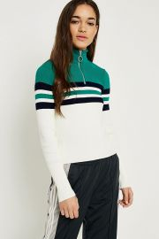 Colourblock Stripe Half-Zip Funnel Neck Jumper by Urban Outfitters at Urban Outfitters