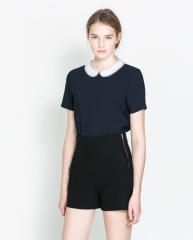 Combination collar top at Zara