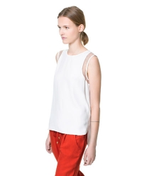 Combination fabric top at Zara