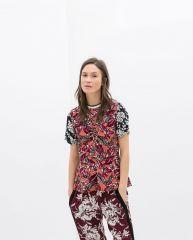 Combination printed top at Zara