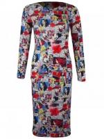 Comic print midi dress at Karma Clothing