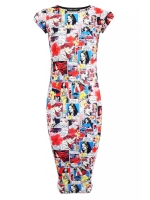 Comic print midi dress at Select