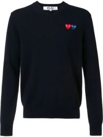 Comme Des Gar  231 ons Play Brand Logo V Neck Jumper - Farfetch at Farfetch