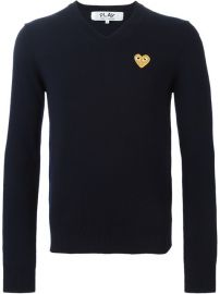 Comme Des Gar  231 ons Play Embroidered Heart Sweater  - Tnt at Farfetch