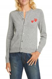Comme des Gar  ons PLAY Heart Patch Wool Cardigan   Nordstrom at Nordstrom