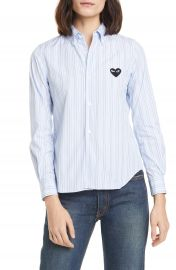 Comme des Gar  ons PLAY Heart Stripe Cotton Shirt   Nordstrom at Nordstrom