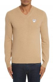 Comme des Gar  ons PLAY White Heart Wool V-Neck Sweater at Nordstrom