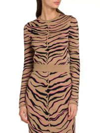 Compact Wool-Blend Tiger Knit Top at Saks Fifth Avenue