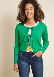 Compania Fantastica Give It a Tie Knit Cardigan in Green at ModCloth