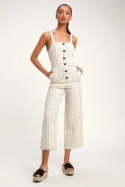 Conley Beige Striped Button-Up Culotte Jumpsuit at Lulus
