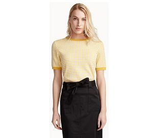 Contemporaine Organic cotton gingham sweater yellow at Simons