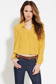 Contemporary Collared Blouse  LOVE21 - 2000185179 at Forever 21
