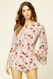 Contemporary Floral Romper   LOVE21 - 2000199650 at Forever 21