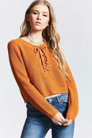 Contemporary Lace-Up Sweater Forever 21 at Forever 21