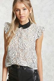 Contrast Collar Crochet Top by Forever 21 at Forever 21